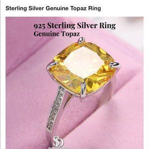 New genuine topaz sterling silver ring